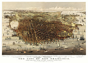 Old Map Photos - San Francisco Map  1878 by Daniel Hagerman