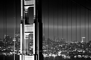 "Lights ""san Francisco"" Prints - San Francisco Nightlife - Black and White Print by Shayne Skower"