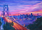 Bridges Painting Posters - San Francisco Nights Poster by David Lloyd Glover