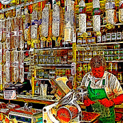Sausages Framed Prints - San Francisco North Beach Deli 20130505v2 square Framed Print by Wingsdomain Art and Photography