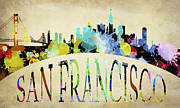 San Francisco Skyline Digital Art Prints - San Francisco Paint Splatter Skyline Print by Daniel Hagerman