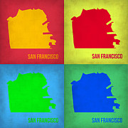 San Francisco - California Framed Prints - San Francisco Pop Art Map 1 Framed Print by Irina  March