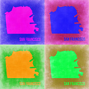 World Map Digital Art Metal Prints - San Francisco Pop Art Map 2 Metal Print by Irina  March