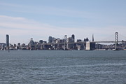 Baybridge Photo Prints - San Francisco Skyline and The Bay Bridge D22259 Print by Wingsdomain Art and Photography