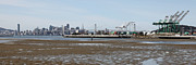 Skylines Photos - San Francisco Skyline and The Bay Bridge Through The Port of Oakland 5D22238 by Wingsdomain Art and Photography