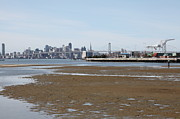 Bay Bridge Art - San Francisco Skyline and The Bay Bridge Through The Port of Oakland 5D22239 by Wingsdomain Art and Photography
