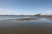 Baybridge Photo Prints - San Francisco Skyline and The Bay Bridge Through The Port of Oakland 5D22242 Print by Wingsdomain Art and Photography