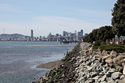 Baybridge Photo Prints - San Francisco Skyline and The Bay Bridge Through The Port of Oakland 5D22251 Print by Wingsdomain Art and Photography