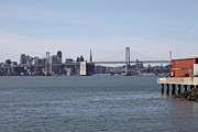 Baybridge Photo Prints - San Francisco Skyline and The Bay Bridge Through The Port of Oakland 5D22261 Print by Wingsdomain Art and Photography