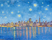 Color_image Posters - San Francisco starry night Poster by Dominique Amendola
