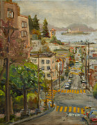 Alcatraz Paintings - San Francisco Street by Margaret Elliott