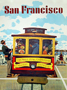 Tram Posters - San Francisco Tram Travel Poster by Nomad Art And  Design
