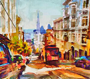 Live Art Digital Art Prints - San Francisco Trams 11 Print by Yury Malkov