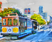 Tram Framed Prints - San Francisco Trams 4 Framed Print by Yury Malkov