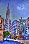 Architectural Structure Posters - San Francisco Transamerica Pyramid and Columbus Tower view From North Beach Poster by Juli Scalzi