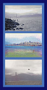 Bay Bridge Mixed Media Metal Prints - San Francisco Triptych - City Bay and Bridge Metal Print by Steve Ohlsen