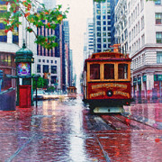 Bison Digital Art - San Francisco Trolley Car by Shawna Mac