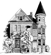 Historic Home Drawings Metal Prints - San Francisco Victorian Metal Print by Mary Palmer