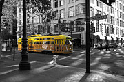 Trollies Photos - San Francisco Vintage Streetcar on Market Street - 5D19798 - Black and White and Yellow by Wingsdomain Art and Photography