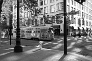 Trollies Photos - San Francisco Vintage Streetcar on Market Street - 5D19798 - Black and White by Wingsdomain Art and Photography