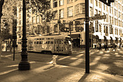 Trollies Photos - San Francisco Vintage Streetcar on Market Street - 5D19798 - Sepia by Wingsdomain Art and Photography