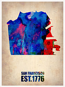 California Map Framed Prints - San Francisco Watercolor Map Framed Print by Irina  March