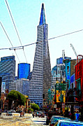 Bay Area Digital Art - San FranciscoTransamerica Pyramid Through North Beach 7D7445 20130505 by Wingsdomain Art and Photography
