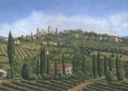 Vineyard Art Painting Posters - San Gimignano Tuscany Poster by Richard Harpum