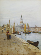Exterior Pictures Posters - San Giorgio Maggiore from the Zattere Poster by Helen Allingham