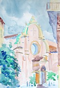 Church Pillars Painting Framed Prints - San Giovanni in Monte Bologna Framed Print by Elinor Fletcher