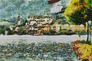 Sea View Digital Art Framed Prints - San Giulio Framed Print by Ayse T Werner