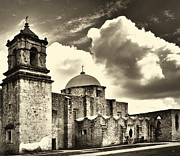 Clouds Photographs Posters - San Jose Mission in San Antonio Texas Poster by Gerlinde Keating - Keating Associates Inc