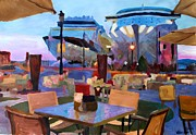 Puerto Rico Paintings - San Juan Cafe Terrace With Cruise Ships by M Bleichner