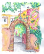 Watercolor And Ink Paintings - San Juan Capistrano Mission - California by Carlos G Groppa