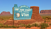 Navajo Lands Posters - San Juan County Welcome Sign Poster by David Lee Thompson