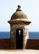 Caribbean Fort Prints Framed Prints - San Juan Guard Tower in Color Framed Print by John Rizzuto