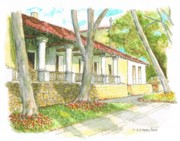 Post Cards Painting Originals - San Luis Obispo Mission - California by Carlos G Groppa