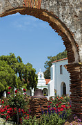 San Luis Rey - Mission Church Print by Sandra Bronstein