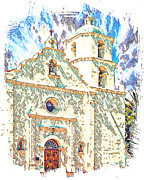 Luis Digital Art - San Luis Rey Mission by Ken Evans