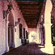 The Church Mixed Media Originals - San Luis Rey Mission Walkway by Glenn McNary