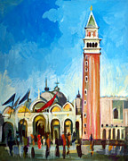 Venice Mixed Media Originals - San Marco Square by Filip Mihail