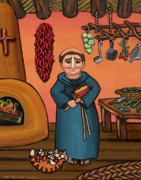 Saint Of Cooks Paintings - San Pascual and Vigas by Victoria De Almeida