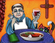 Saint Of Cooks Paintings - San Pascual Cheers by Victoria De Almeida