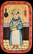 Saint Of Cooks Paintings - San Pascual by Ellen Chavez de Leitner