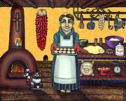 Folk Art Painting Framed Prints - San Pascual Making Biscochitos Framed Print by Victoria De Almeida