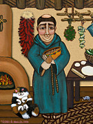 Saint Of Cooks Paintings - San Pascual by Victoria De Almeida