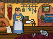 Folk Art  Paintings - San Pascuals Kitchen 2 by Victoria De Almeida