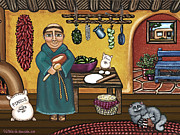 Folk Art Painting Framed Prints - San Pascuals Kitchen Framed Print by Victoria De Almeida