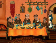 Folk Painting Posters - San Pascuals Table Poster by Victoria De Almeida