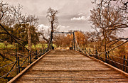 Suspension Posters - San Saba Suspension Bridge Poster by Robert Frederick